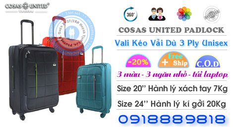 Vali du lịch carry-on bagagge Cosas United